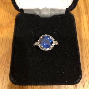 Sapphire Halo and Sterling Silver Ring, size 7